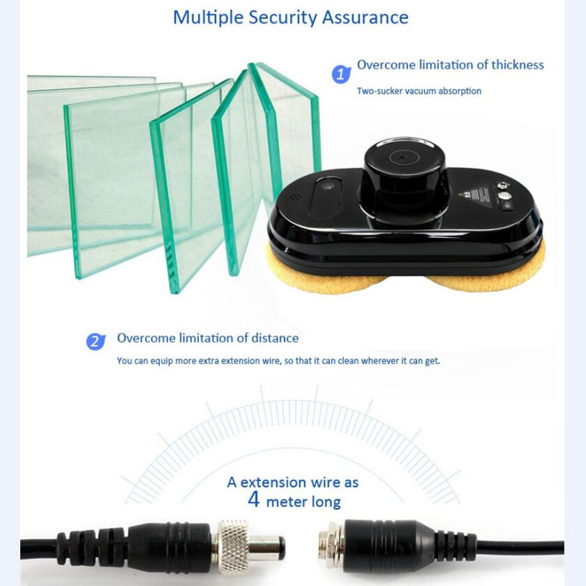 Wet and Dry Auto clean Anti-falling Smart Window Glass Cleaner Robot Control Robot Vacuum Cleaner With 4m Extension cord robot vacuum cleaner auto clean anti falling smart window cleaner glass cleaner best christmas gift free shipping