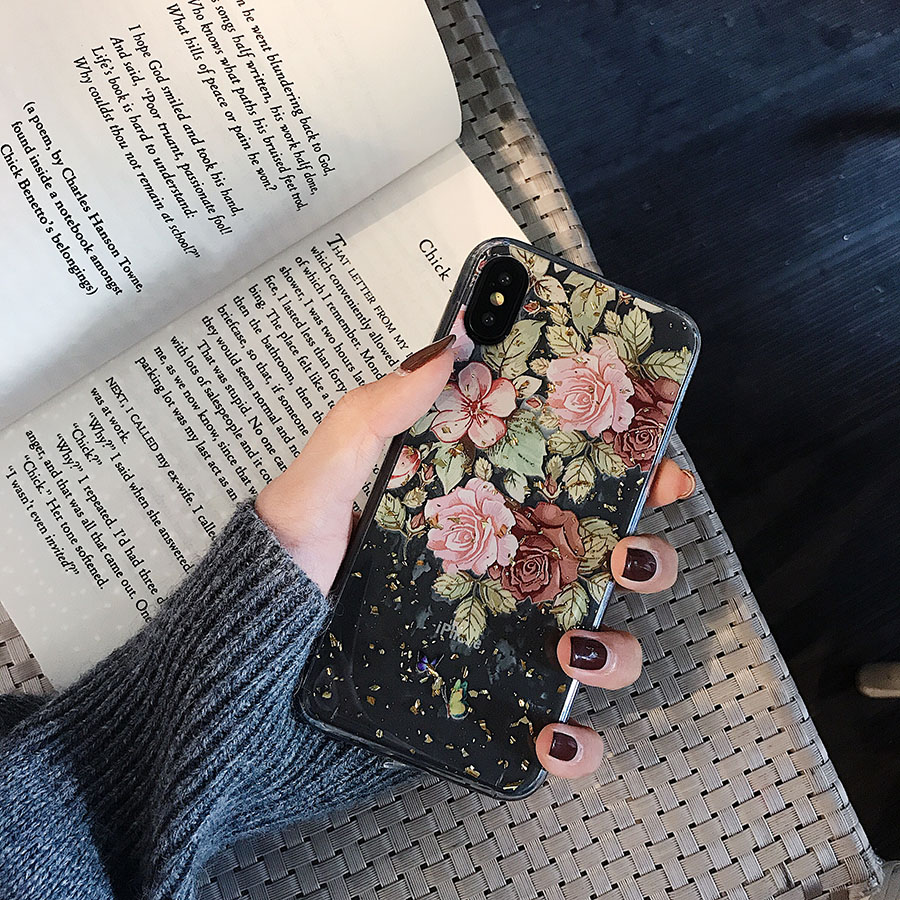 LACK Gold Foil Flowers Phone Cases For iphone XS Max X XR 8 7 6S 6 Plus  Slim Clear Back Cover Cartoon Lace Floral Cases Capa
