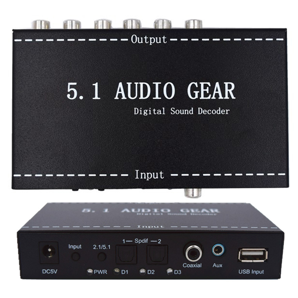 5.1 Audio Gear Digital Sound Decoder Audio Converter 3.5mm Audio Output Support 192khz Surround Rush For TV DVD PS3 US/EU plug