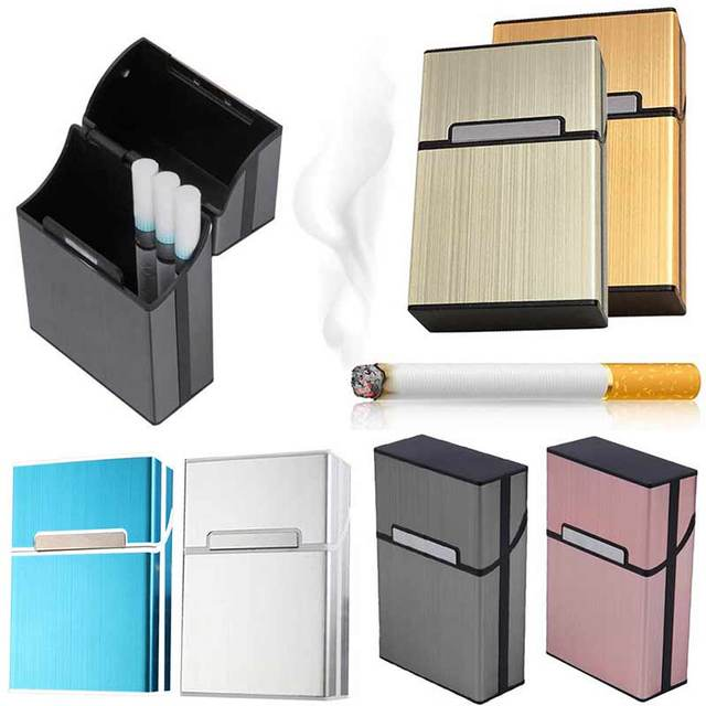 2018 Personality Creative Aluminum Smoking Cigarette Case Fashion Men Cigar Tobacco Holder Pocket Box Storage Container Gift Box