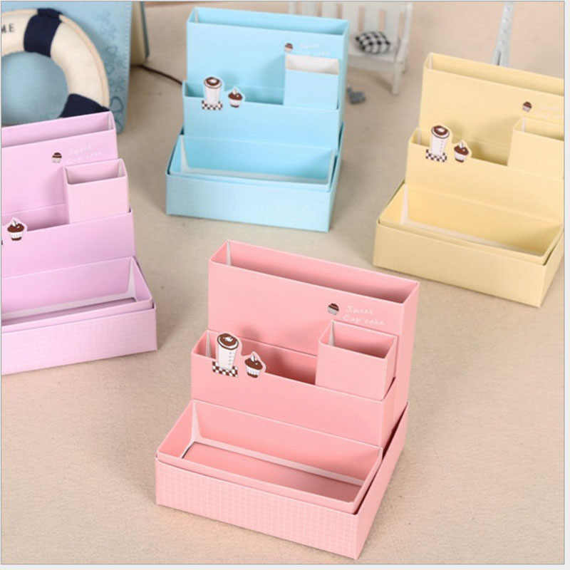 2018 Random Color Hot Sale DIY Paper Board Makeup Cosmetic Storage Box Container Desk Decor Stationery Case Organizer