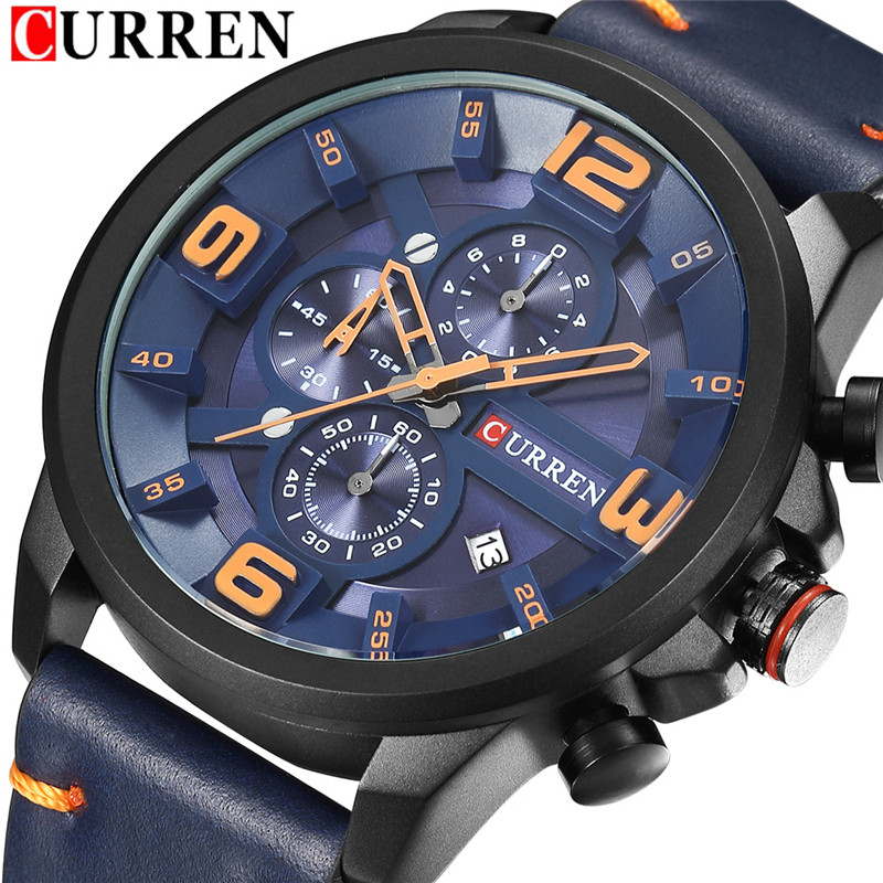 CURREN Men Watch Top Brand Luxury Sport Mens Watches Chronograph Date Military Army Business Leather Band Male Quartz Clock 8288 ochstin men watch chronograph date stainless steel band top brand luxury military army sport quartz watch male clock 6110b