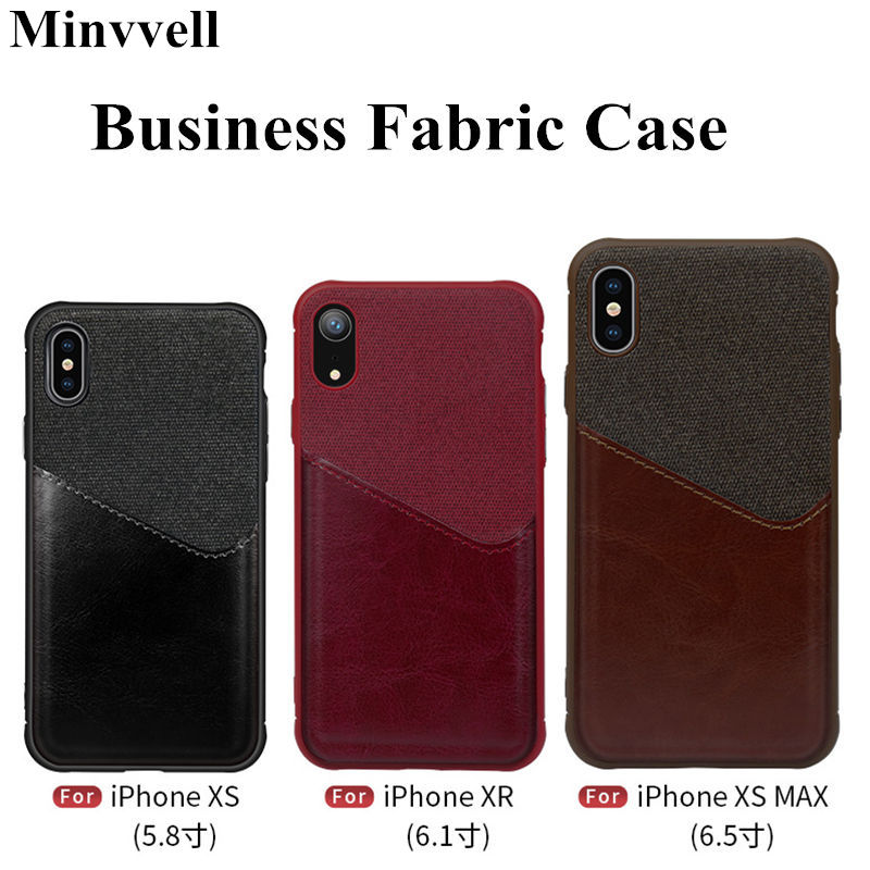 Luxury Business Case for iPhone XR XS MAX 10 Case PU Leather Card Slot Hard PC Cover For iPhone XSmax Capa Cloth Skin Cover iPhone XR
