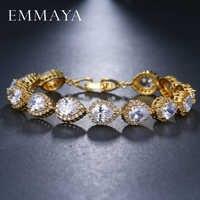 EMMAYA AAA + elegante cuadrado pera corte CZ zirconia tenis encanto pulseras y brazaletes oro color princesa corte CZ boda joyería