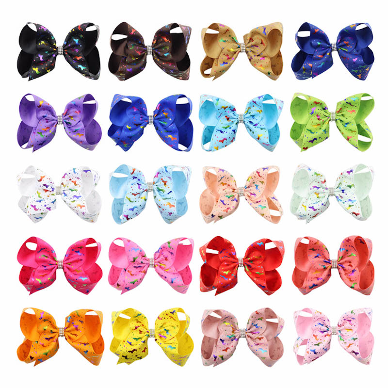 20Pcs/lot 6inch Unicorn Printed Ribbon Bowknot Rhinestone Hairpin Girl Colorful Bow Hair Clip Boutique Headwear Hair Accessories cheap 1pcs women headwear scissors comb hair clip hair accessories headpiece hairpin headwear gold silver color drop shipping