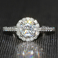 0.8 Carat ct F Color  Engagement Wedding Lab Grown Moissanite Diamond Ring With Real Diamond Accents Solid 14K 585 White Gold