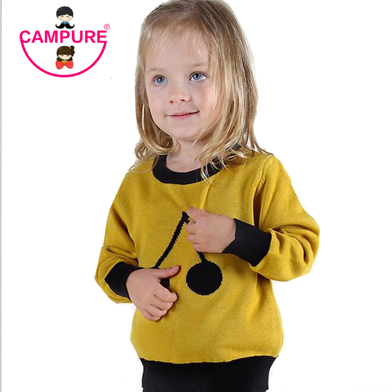 Campure 2017 Cherry Pattern Children Warm Tops Kids Boys and Girls Long Sleeve Pullovers Sweater 100%Cotton Black Yellow Sweater