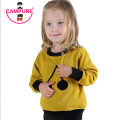 Campure 2016 Cherry Pattern Children Warm Tops Kids Boys and Girls Long Sleeve Pullovers Sweater 100%Cotton Black Yellow Sweater