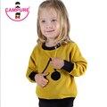 Campure 2016 Modelo de la Cereza Niños Calientes Sudaderas Niños Niños y Niñas Suéter de Manga Larga Jerseys Sweater 100% Algodón Negro Amarillo