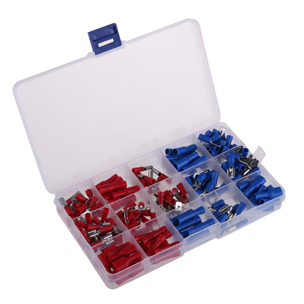Professional Connector Terminal 200Pcs Assorted Insulated cold pressed Crimp Terminals Set Electrical With Case  BS rnb3 5 10 circular naked terminal type to cold pressed terminals cable connector wire connector 1000pcs pack