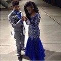 Sexy Manga Larga de La Sirena Vestido de Fiesta 2017 Scoop Neck Formal Vestido del partido con Plena Abalorios Cristales Sheer Vestido de Noche Personalizado hecho