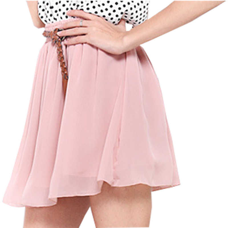 7e49d4a367 Skirts women 2019 new arrivel summer female high waist double chiffon  pleated big swing mini skirt