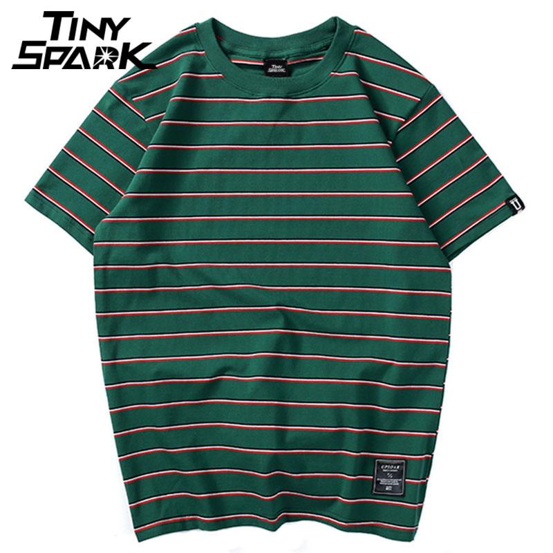 Harajuku rayas camiseta 2018 hombres camiseta Casual manga corta de verano Hip Hop camiseta Streetwear Casual Tops negro blanco verde