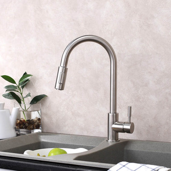 Kitchen Sink Faucet All Stailnless Steel Material Pull Out  Sprayer Single Handle Deck Mount Nickel Brush Basin Taps BCFCL001