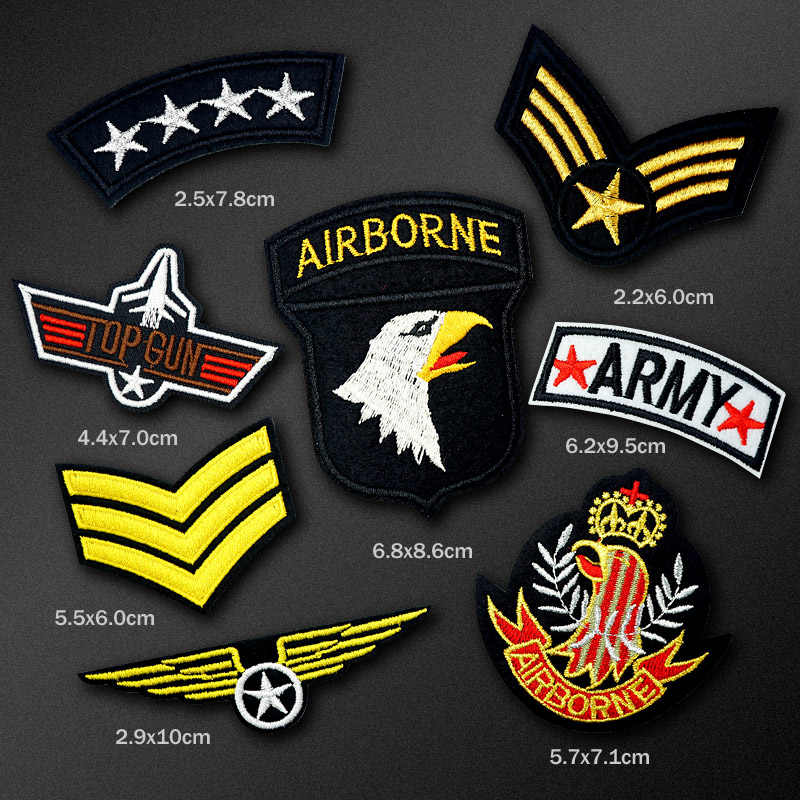 94bbaf3d95d 8pcs lot AIRBORNE ARMY DIY Cloth Patch Badge Embroidered Cute Badges Hippie  Iron On Kids