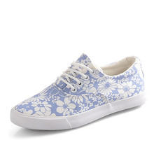 Women Floral Flats 2016 New For Spring Casual Lace-up Printed Canvas Shoes Woman Platform Flat Shoes Autumn Size 35-39