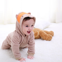 Pureborn Cute Cartoon Fox Baby Romper Unisex Winter Thick Baby Clothing New Year S Costume Newborn
