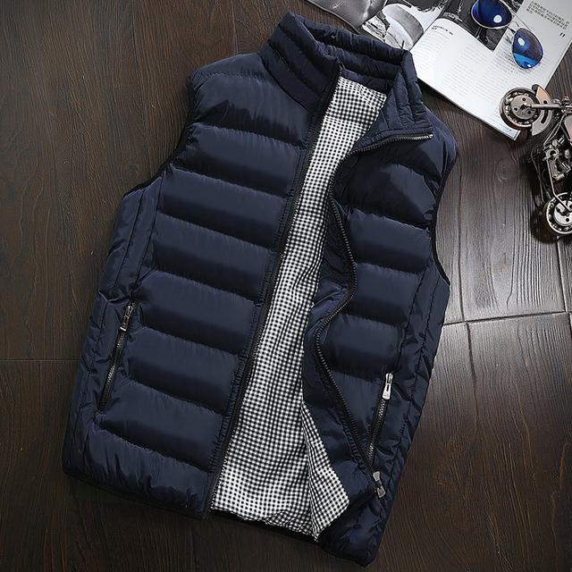 Autumn Winter Sleeveless Coat Men Vest Male Fashion Brand Casual Slim Waistcoat Coat Men's Waterproof Jacket Plus Size 5XL Homme