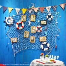 Large Blue Beige Christmas Decorations for Home Mediterranean Marine Style Fishnet Photo Frame Wall Art Set Kids Picture