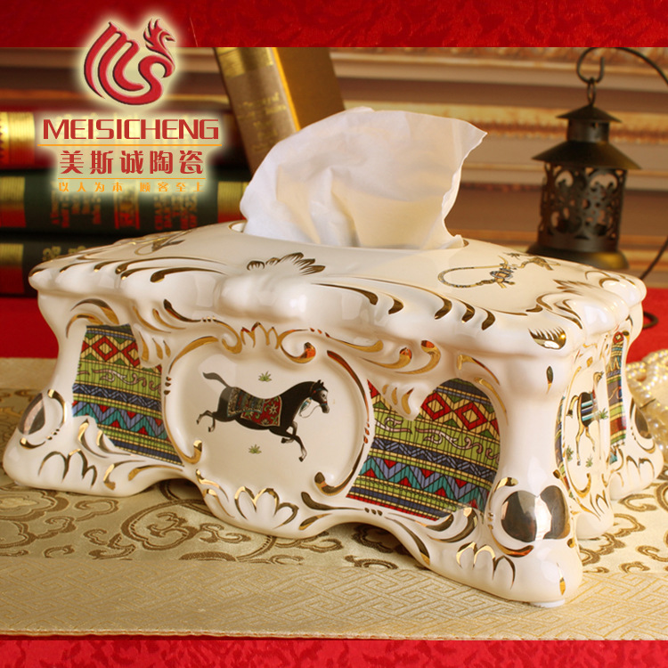 Factory Direct: European ceramics European Tissue Box KTV decoration tissue box tissue box home