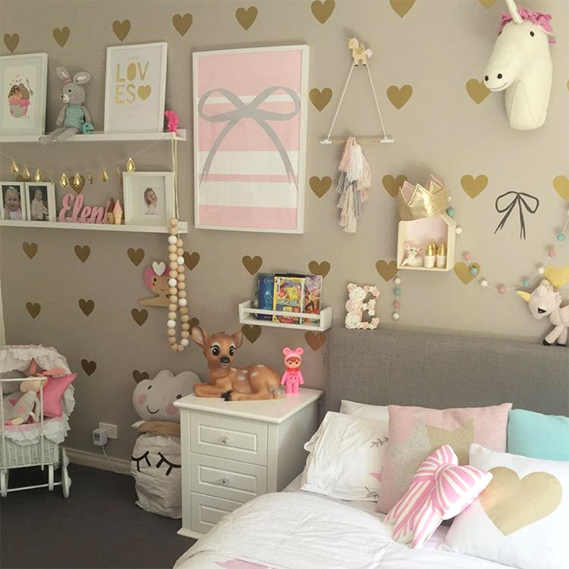 Girl Room Gold Heart Wall Stickers Baby Nursery Wall Decal Children Bedroom Wall Sticker For Kids Room Easy Wall Home Decoration
