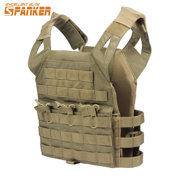 SPANKER Tactical Vest Boy 1000D Nylon Molle Plate Carrier JPC Safety  Protection Outdoor Hunting Fan Military e646ec2dc64