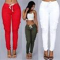2016 Cargo Pants Women Fashion Pockets Patchwork Drawstring Waist Solid Slim Women Pants Causal Women Long Trousers