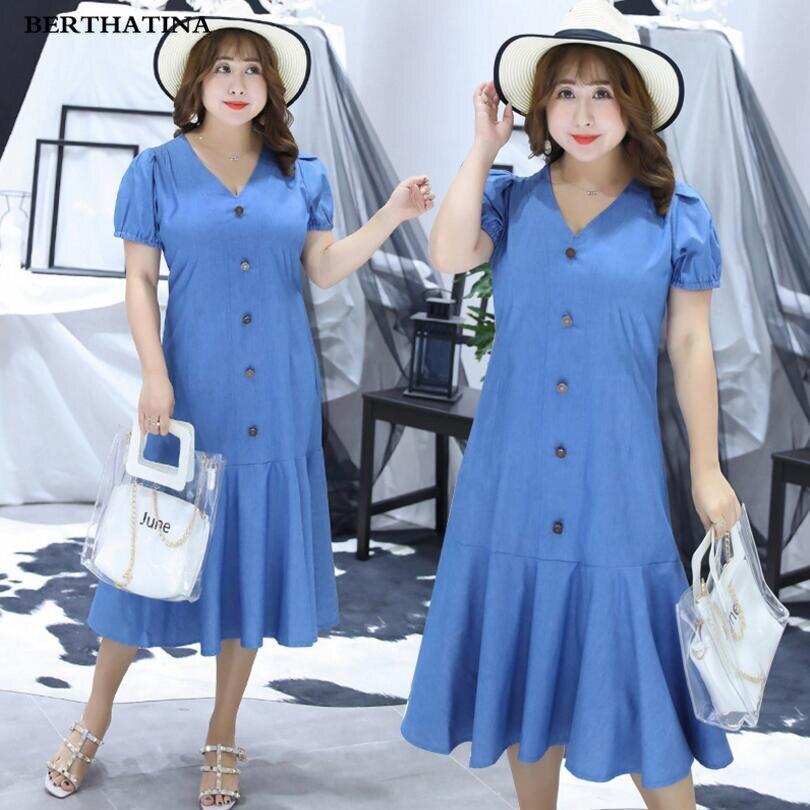 BERTHATINA Plus Size 4XL Women s Dress New Arrival Quality Fashion Casual Denim Dress Female Elegant