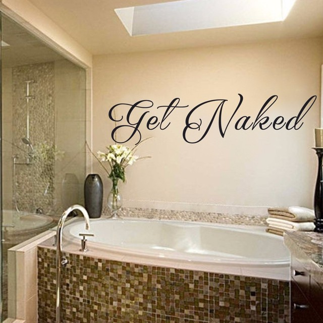 Get Naked   Bathroom Wall Decal Vinyl Wall Art Quote Bathroom Sign 81.28cm  X 20.32