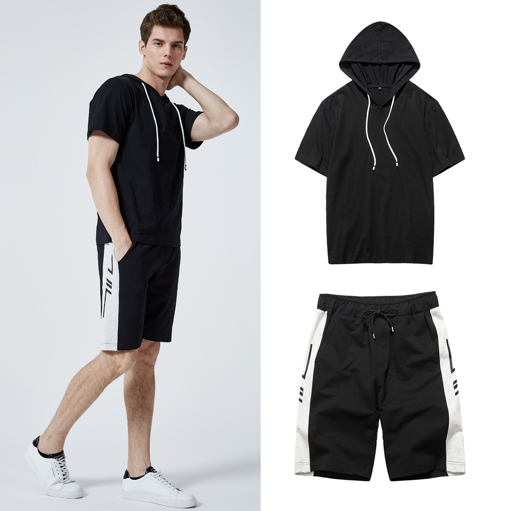 2019 New Europe Size Hooded Tracksuit Men Summer Sweat Suit Men Tops Tees Shirts+Shorts Camisetas Hombre Casual Letter Print Set