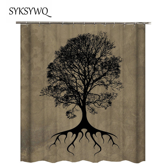 Tree Shower Curtain Brown Curtains For Bathroom Of Life Rideau Douche Fabric Drop Shipping 3D