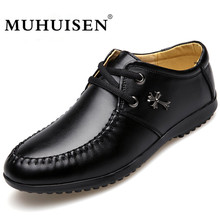 MUHUISEN PU Leather Men Oxford Shoes Spring Autumn Lace Up Casual Business Flats Fashion Male Dress Shoes Breathable Homme