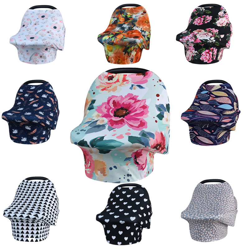 New Baby Nursing Cover Printed ,Shopping Cart, High Chair, Car Seat Canopy,Multi Use Breastfeeding Cover Up Stroller Carseat baby car seat cover canopy nursing cover multi use stretchy infinity scarf breastfeeding shopping cart cover high chair cover