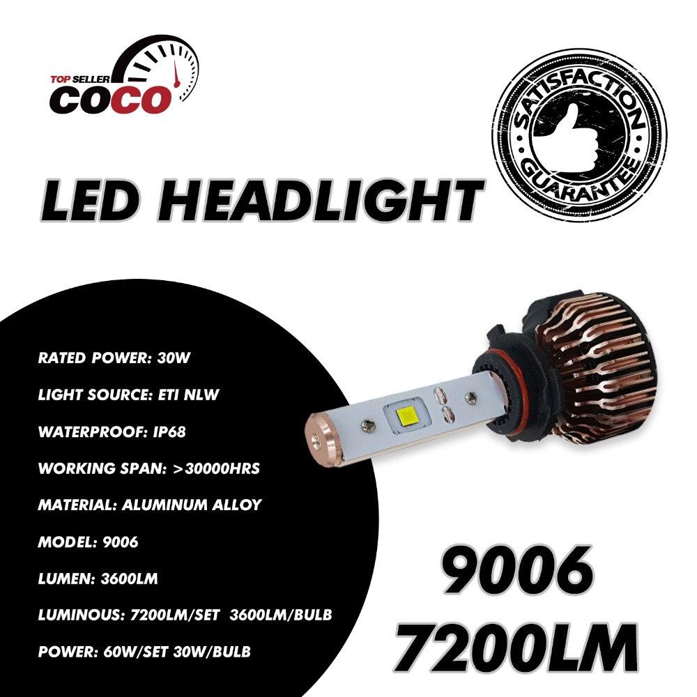 ФОТО Pair Car 9006 HB4 Bulbs LED ETI Headlight 60W/Set 7200LM/Set 6000K White Fog Headlamp DRL Daytime Running Driving Light