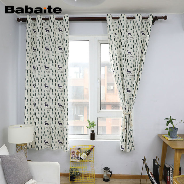 Babaite Nordic Christmas Tree Style Curtains for Children Cotton ...