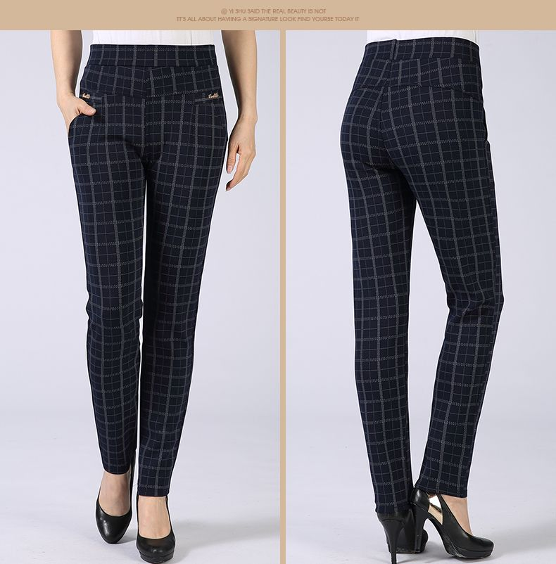 Spring Autumn Woman Casual Pant Navy Blue Black Khaki Gray Trousers Middle Aged Women Plaid Pattern Pants High Waist Trousers Mother Bottoms (12)