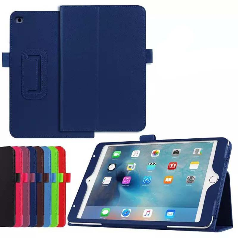 все цены на Slim Litchi 2-Folder Flip Stand Leather Cover Magnetic Smart Case Funda Skin For Apple iPad Mini 4 Mini4 4 Generation Tablet онлайн