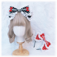 Gothic Vintage Strawberry Pastorale Black Red KC Big Bow Headband Lace Lolita Girls Gorgeous Hair Band Handmade Sweet Headwear