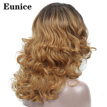 Long Big Wavy Wigs Synthetic Blonde Lace Front Wigs 20inch Black Hair Heat Resistant Wig for Black Or White Women Eunice Hair blonde hair natural black root synthetic curly wigs lace front wig for women heat resistant free shipping