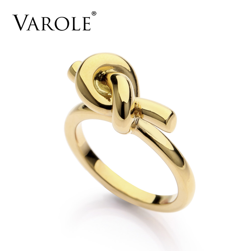 VAROLE Brand New Fashion Trendy Knot Rings For Women Classic Design Gold Color Jewelry Anel Wholesale trendy flat collar sleeveless pocket design buttoned dress for women