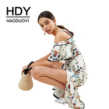HDY Haoduoyi Women Bohemian Floral Print Cold Shoulder Midi Strap Slash Neck Ruffle Short Sleeve Side Split Wrap Summer Dress недорого