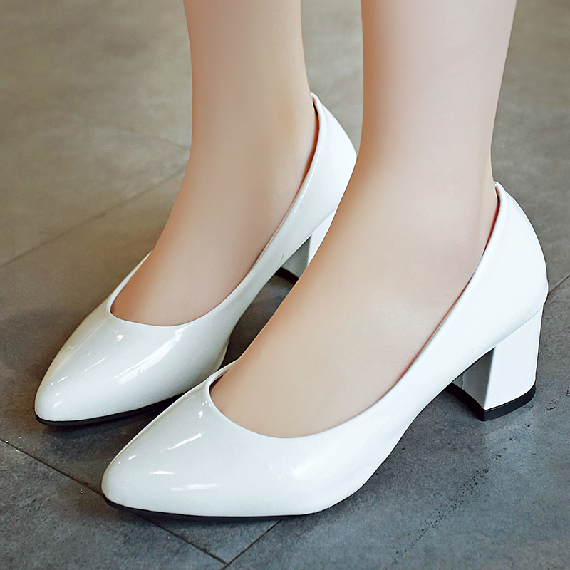 Plus Size 33 41 Women Shoes Medium Heels Pumps Pointed Toe White Wedding Patent Leather Boat Dress Pump 2103 In Womens From On