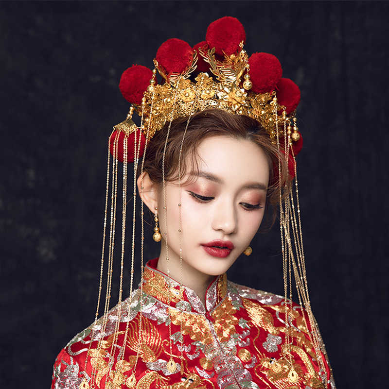 HIMSTORY แบบดั้งเดิมจีนสีแดง Velet Ball เจ้าสาว Headpiece เครื่องแต่งกายโบราณ Handmade ผู้หญิงเครื่องประดับงานแต่งงานเครื่องประดับผม