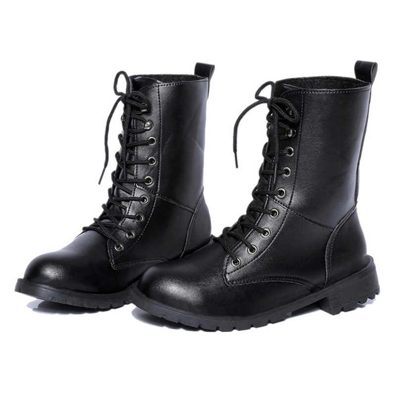 Осенне-зимние короткие женские ботинки Ботинки martin с круглым носком Модные женские ботинки средней длины Ботинки martin в стиле ретро zapatillas mujer