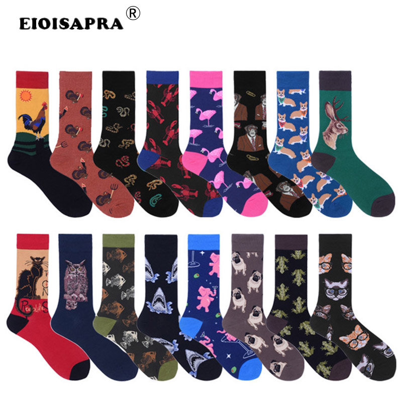 [EIOISAPRA]Harajuku Hot Sale New Product   Socks   Men Cute Cartoon Deer Dog Cat Animal Happy Funny Calcetines Hombre Divertido