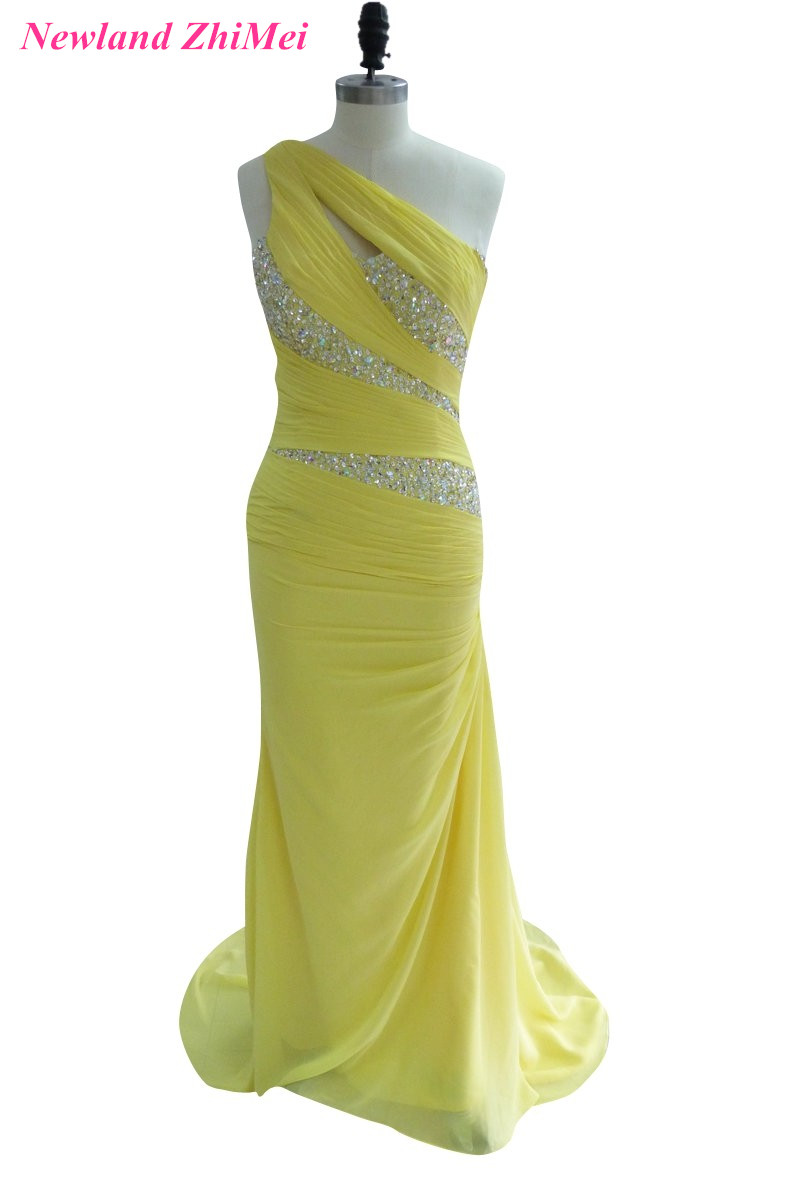 Sparkly Yellow One Shoulder Woman   Prom     Dresses   Cheap Beaded Sequined Pleat Long Chiffon   Prom   Party Gowns