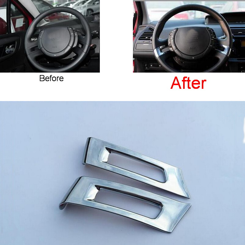 Tonlinker 2 Pcs DIY Car Styling ABS Chrome Steering wheel bright stickers Cover Case Stickers For Citroen C4 classic 2012-16 carking diy abs steering wheel covers stickers for bmw mini cooper red blue multi color
