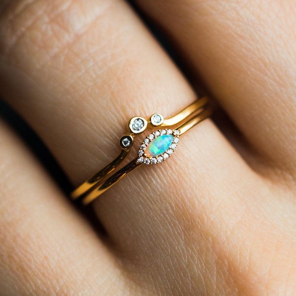 Tamaño 5 5 5 6 6 7 8 set de 2 uds conjunto de anillo de compromiso de boda de color oro lindo de piedra de ópalo ojo cz fina anillos pequeños