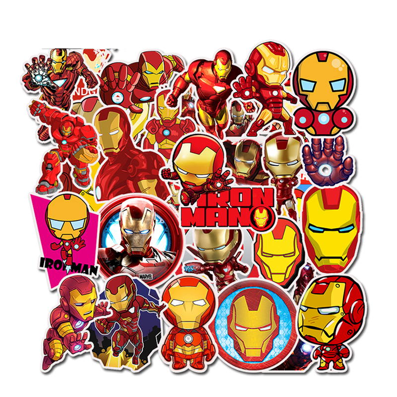 35Pcs/pack Iron Man Graffiti Stickers Marvel For Laptop Mouse Motorcycle Skateboard Guitar Luggage Cute Style Stickers