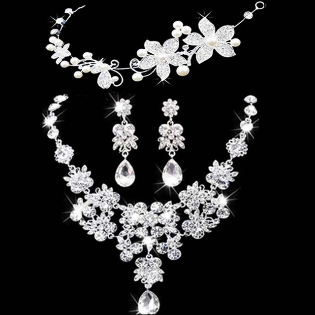 women jewelry set,austrian crystal jewelry,necklace and earring sets,necklace women set Bride Bridal Crown Necklace Earring Set